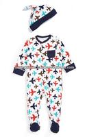 100 % COTTON KIDS PRINTED ONE PIECE FOOTED PAJAMA WITH MITTEN SET