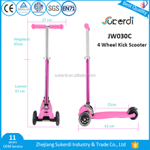 Adjustable flashing four wheels new mini child age kids pedal kick scooter for sale