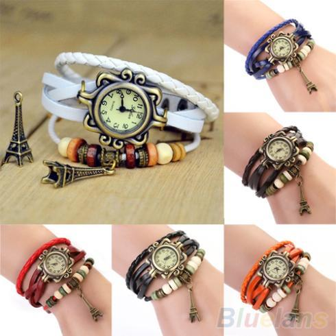 New Beautiful Girl Lady Hot Vintage Women's Eiffel Tower Quartz Leather Bracelet Wrist Watch  1N5S 6P61