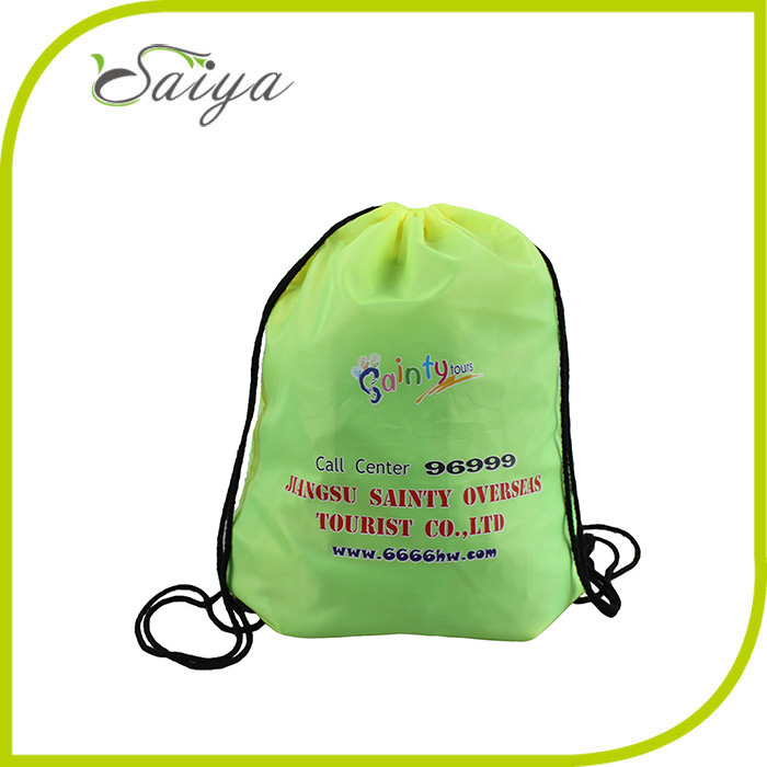2015 factory custom promotional waterproof cheap canvas nylon polyester cotton drawstring bag for sports with pockets