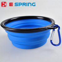 Foldable Collapsible Pet Dog Cat Silicone Travel Feeding Bowl Dish Water Feeder with carabiner hook