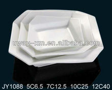 Geometric design white porcelain plate for hotel and daily use