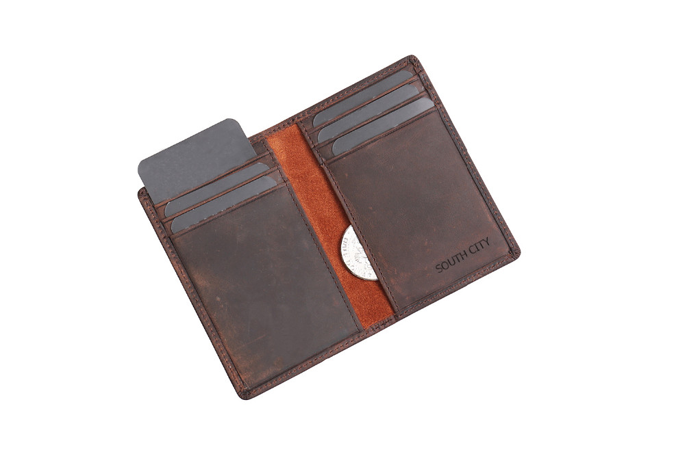 Newest men bifold leather card wallet Italian vegetable tanned multifunctional leather purses