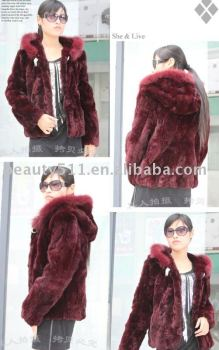 Stunning Trendy Noblest Hooded Rabbit Hair fur coat garment JL001