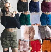 L2483A Hot selling sale women autumn suede skirt lace up high waist mini bandage pencil skirts