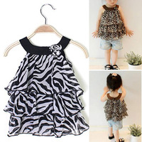 Baby Girl Summer chiffon Leopard/Zebra Sleeveless party Birthday Gift Dress SV002245