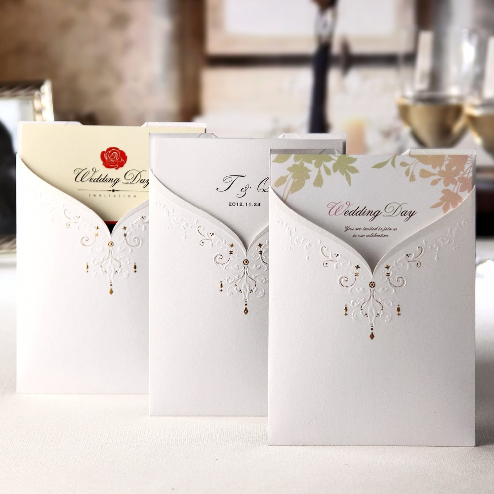 WISHMADE Korean style wedding invitation cards,front and back are ...