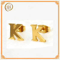 Cheap Jewelry Accessories Online Mens Gold Stud Earrings K Shaped Letter Earrings Gold Plated For Promotion Gift