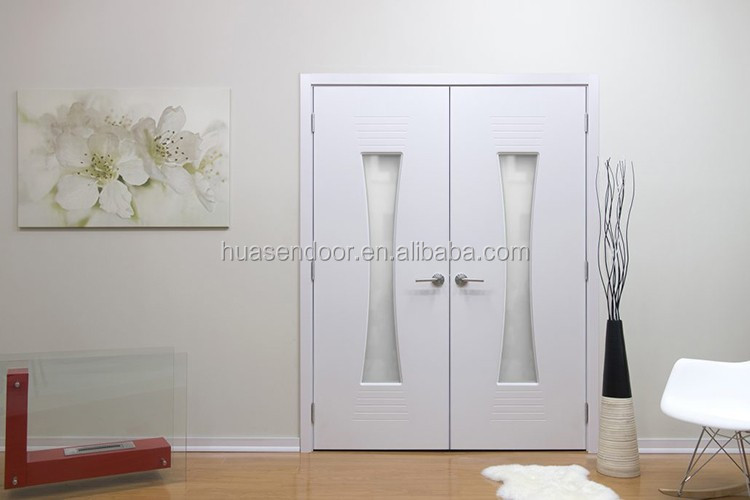Cheap commerical double interior doors with clear glass