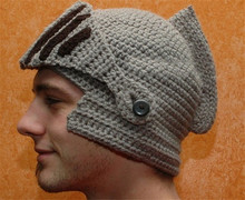 Fashion unisex funny mask beanies roman knight helmet cool handmade knit cap and hat