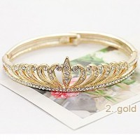 new product silver jewelry crystal rhinestone princess crown charm bracelet gold crown bangles