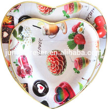 New heart shaped plastic dry fruit tray,cokie serving tray