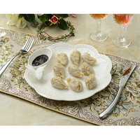 European Style Reliefs Ceramic Plate Dumplings Salad Steak Disc Dish
