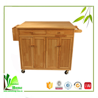 China Manufacturer Bamboo Kitchen Cart