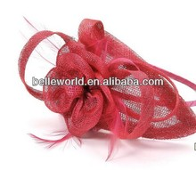 Feather Organza Veil Red Flower Bow alice band Fascinator Wedding Party