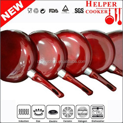 chinese suppliers frying pan with round cheap red painting 24cm steak pan