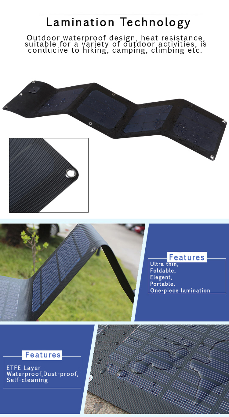 60W Solar Panel and Foldable & Portable Flexibility solar laptop charger
