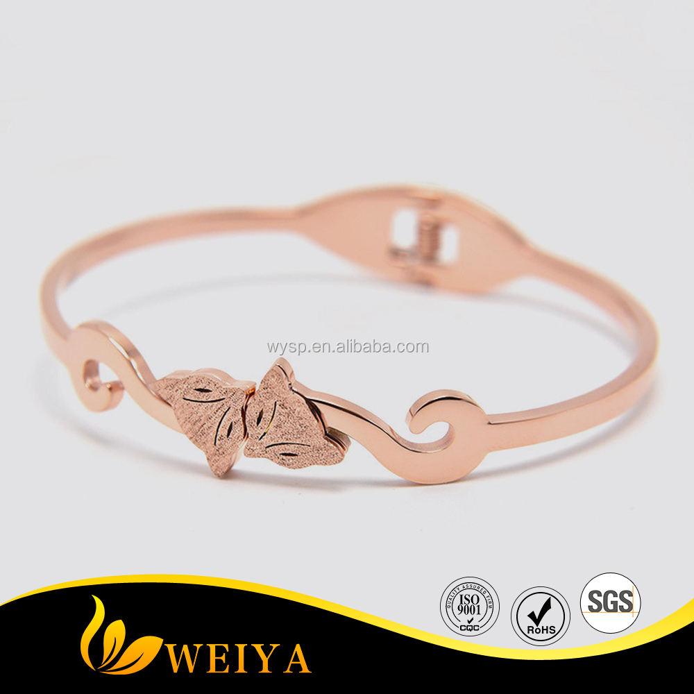 Rose Gold Plated Cuff Bangles Tow Foxes for Girls