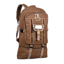Men's Canvas Backpack Travel Hiking Rucksack for Camping College Backpacks