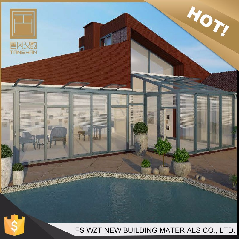 New product high quality waterproof glass green house for pool modern portable sun room