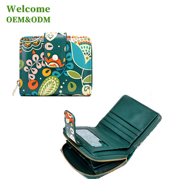 KID custom fashion design pattern genuine leather wallet for lady