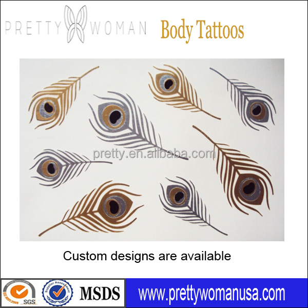 Custom Water Transfer Temporary Tattoo Sticker Pretty Woman Body Art Gold Metallic Tattoo Stickers