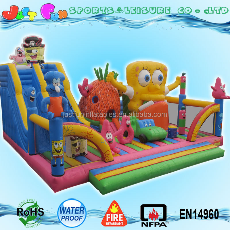auto open n close buy inflatable spongebob bouncer trampoline from China