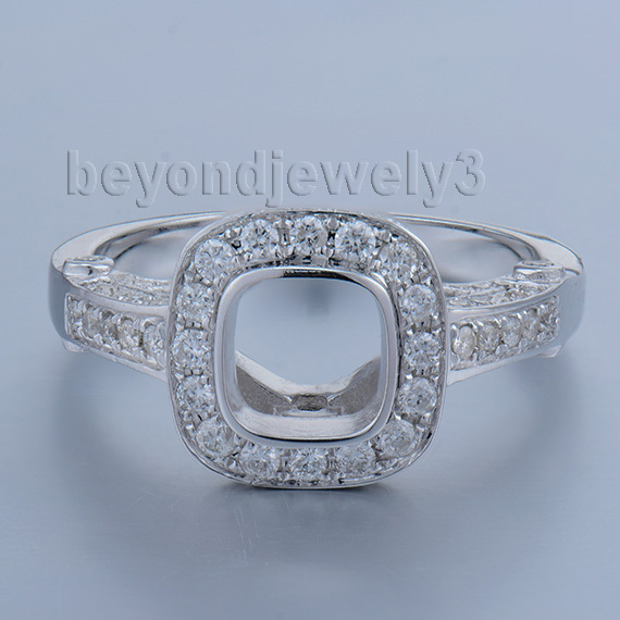Wedding Semi Mount Ring Cushion 6x6mm Stone In 14Kt White Solid Gold With Natural Diamond Setting Ring Hot Sale WU245