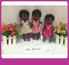 "Sale Reborn Baby Dolls 4 SOUNDS Cheap 13"" BLACK BABY AFRICAN DOLLS SET WITH IC AND REAL HAIR(WEARING FLORAL PRINTED DRESS)"