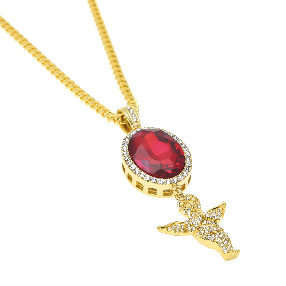 Gold Plated Ruby Iced Out Angel Pendant Hang on Ruby pendant Necklace hip hop