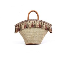 China Supplier Wholesale Straw Women Tote Bag Handmade Summer Beach Wicker Woven Handbag