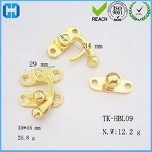 Gold Alloy Type Metal Lock Horn Curved Buckle For Gift Jewelry Box With Screw