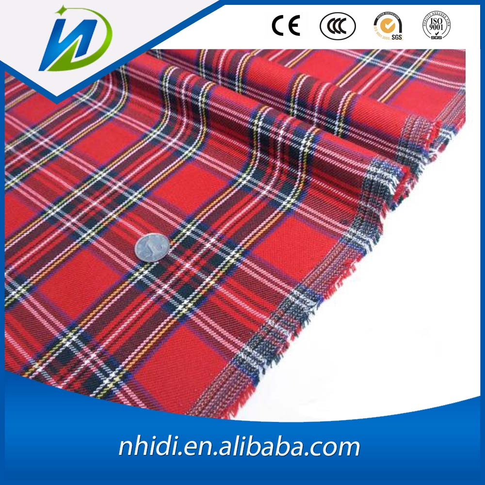 100 cotton woven plaid shirt fabric for school uniform