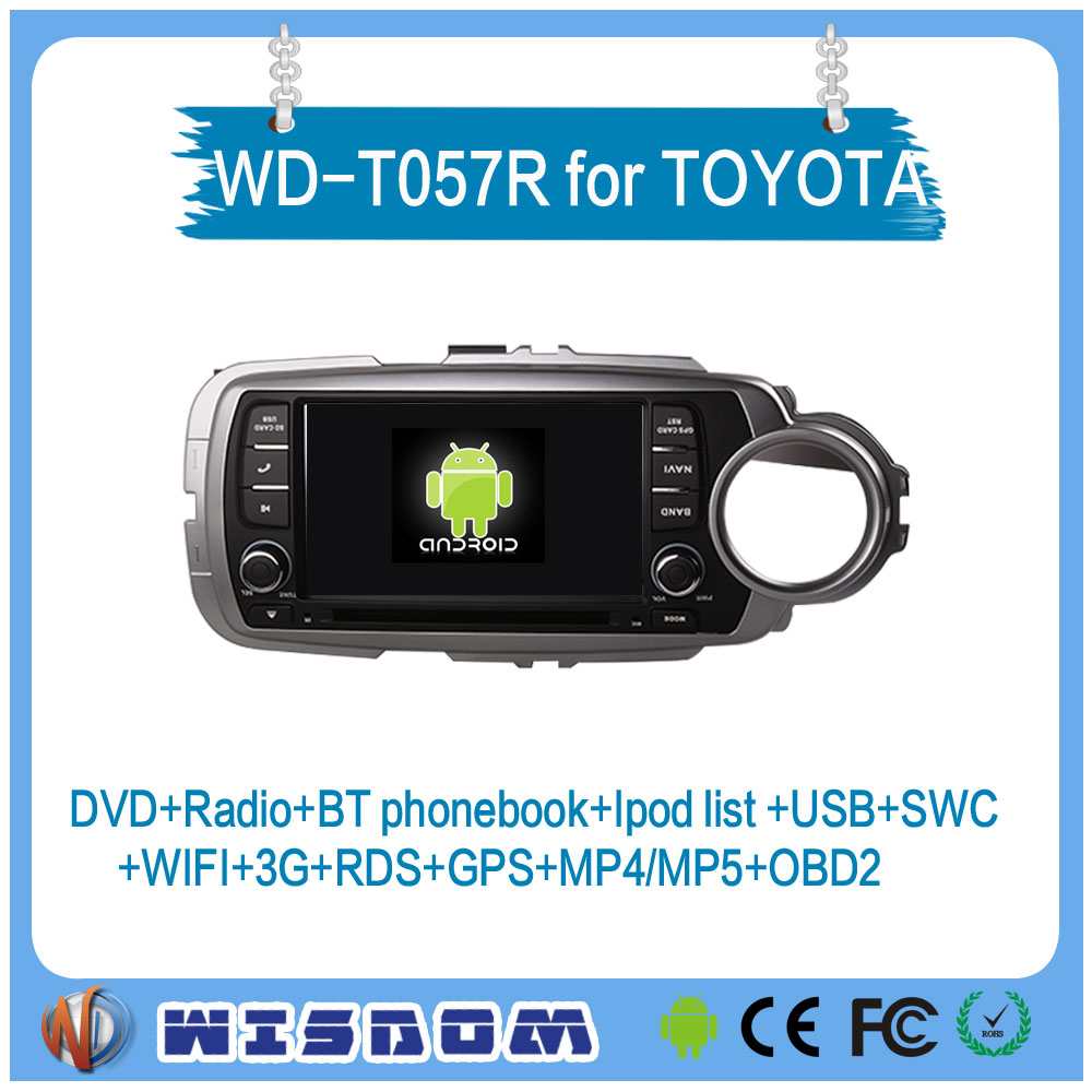 2016 WISDOM Android 5.1.1 Quad core toyota yaris 2012 din car radio car dvd player gps navigation 3G WIFI IPOD 1080P RDS SWC