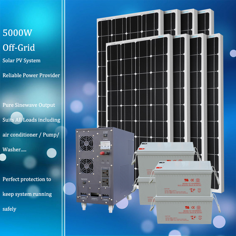 5kw off grid solar system 50/60Hz short circuit protection low/high voltage protection overheat protection