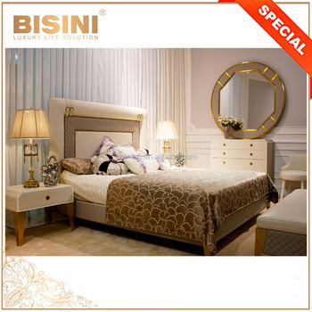Italian Style Sophisticated Finest Design Leather Upholstery Bedroom Set, Exquisite Quilting 3D Design Bed Set with Gold Trim