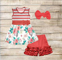 Summer new fashion girls clothing set beautiful top match exquisite short girls wholesale suits children's boutique clothing