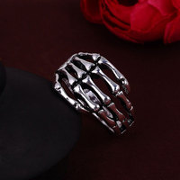 Vintage Goth Punk Style Silver Plated Alloy Skeleton Hand Ring Biker Skull Hand Ring