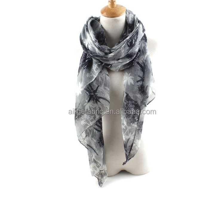 cotton grey,white,printing and dyed voile fabric 60*60 90*88 57/58for scarf