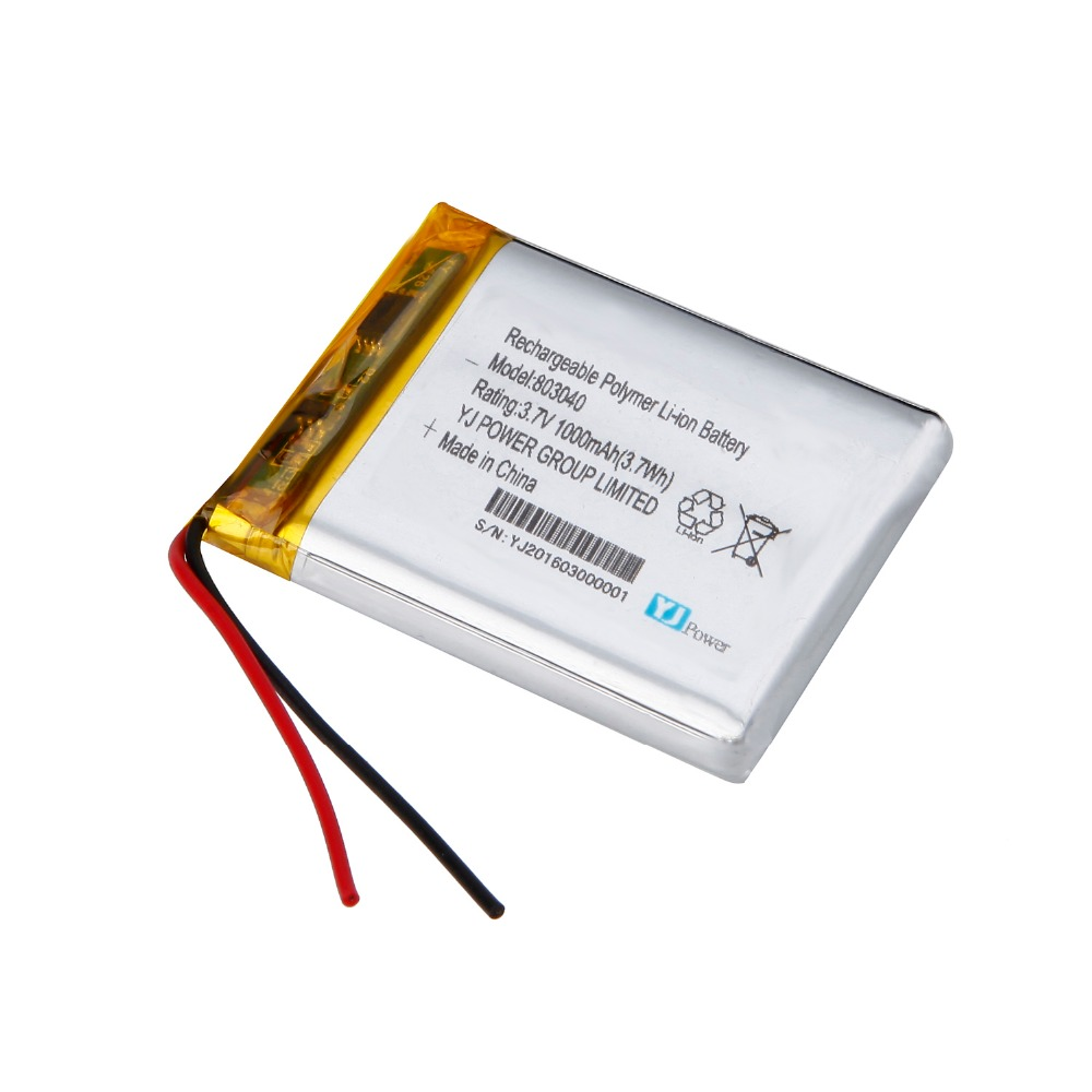 High capacity polymer rechargeable battery 3.7v 1000mah lipo battery