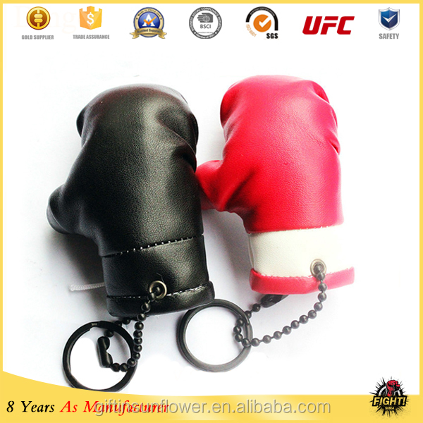 Custom logo printing PVC leather Boxing Glove Keychain /Mini boxing glove keyring for promotion