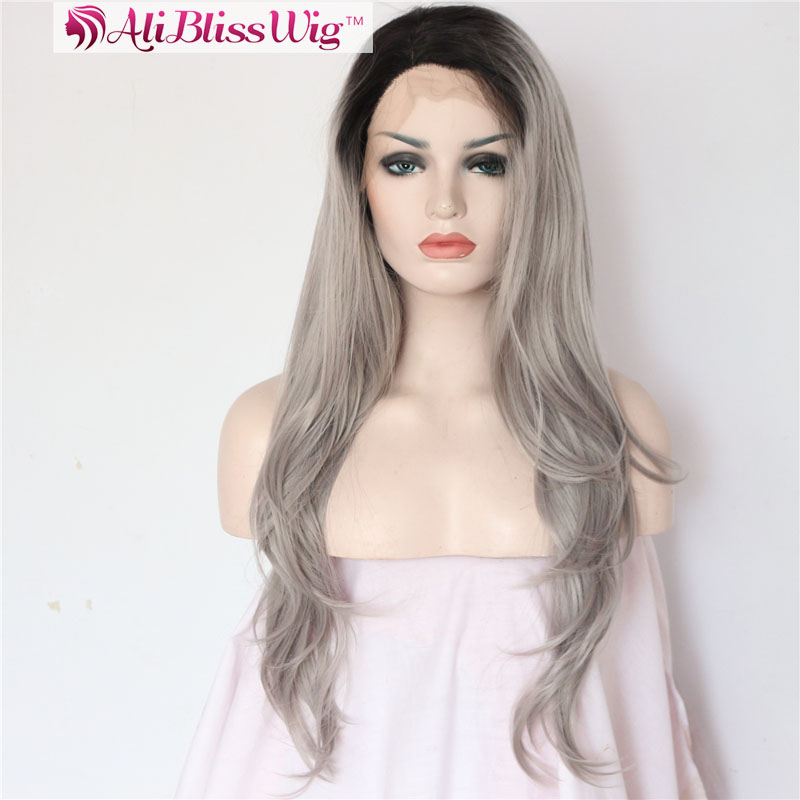 "22"" <strong>L</strong> Shape Deep Parting Long Wavy Heat Resistant Fake Hair Dark Roots Mix Color Two Tone Grey Ombre Synthetic Lace Front Wig"