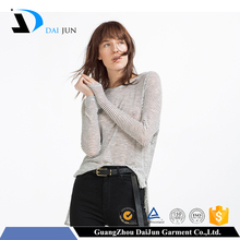 Daijun oem high quality fashion long sleeve o neck stripe women different types of t shirts