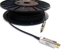 100m (330ft) for 1080p/ (1920 x 1200) 60Hz refresh rate hdmi fibre optic cable