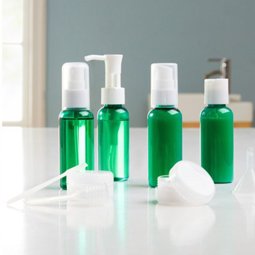 50ml travel kit set Clear Plastic PET Empty Bottles with Flip Cap - BPA-free - Set of 9 - Travel Size - By Chica and...