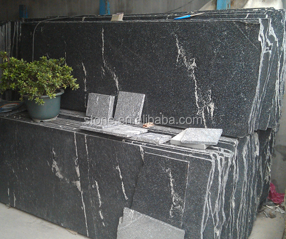 Snow Grey Granite Jet Mist Black Granite with White Veins