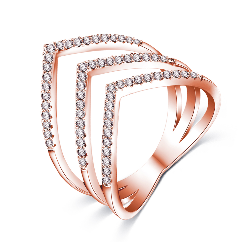 Latest Women Gold Finger Rings 18K Rose Gold Plated Brass Micro CZ Diamond Three V Shape Ring Fashion Jewellery CRI1034