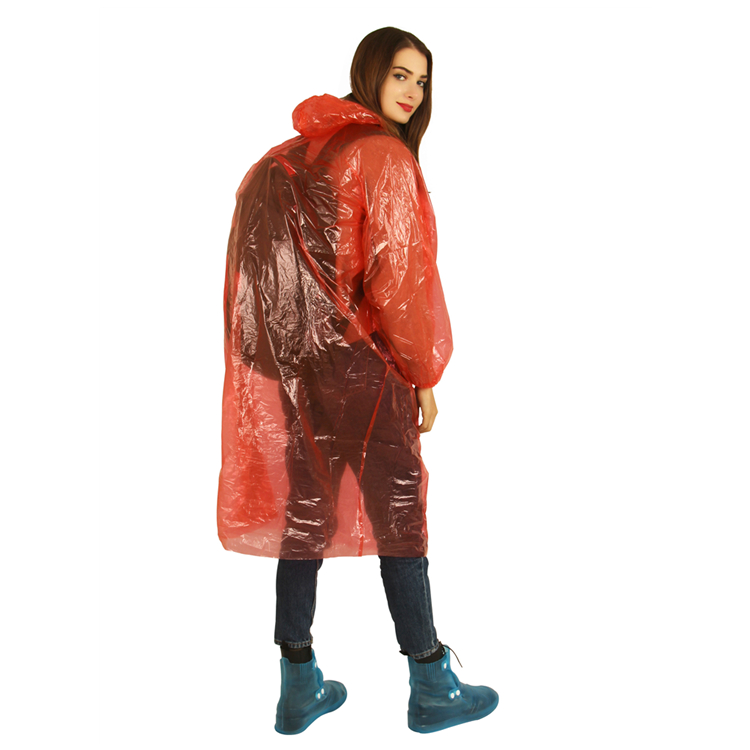 Emergency promotion high quality LDPE disposable waterproof poncho/rain slipover with sleeves and Elastic cuff