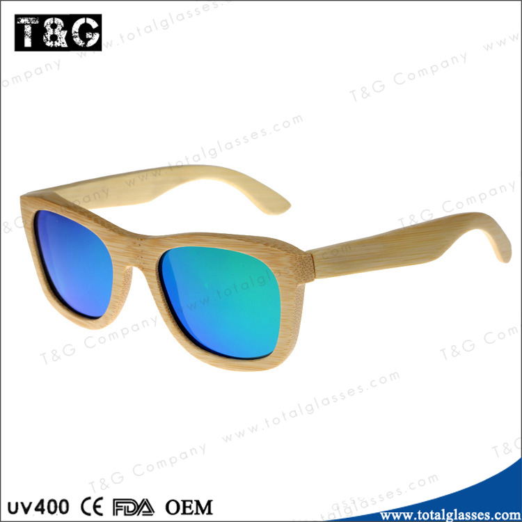cheapest promotional Handmade wood sunglasses bamboo frame mirror polarized lens high quality sun glasses made in China