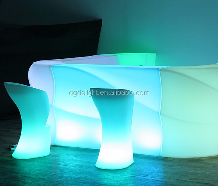 Rechargeable Night Club and Bar use LED illuminated bar stool with 16 Colors